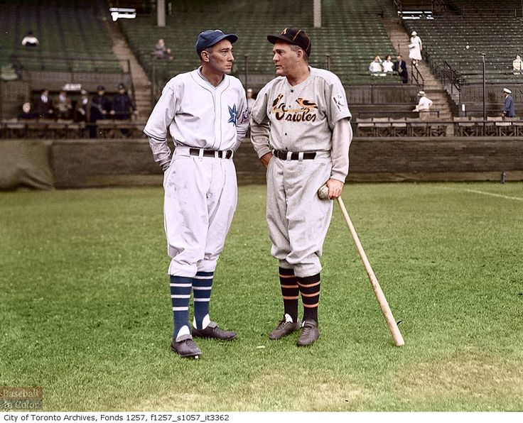 Tony Lazzeri, Toronto Maple Leafs manager and Rogers Hornsby, Baltimore Orioles manager, 1939.