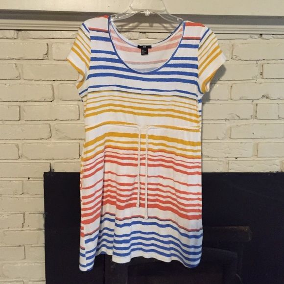 H&M tshirt dress size small T-shirt type dress. Draw string waist. Has one pocket. Size small. Very cute colors are for me. H&M Dresses Mini