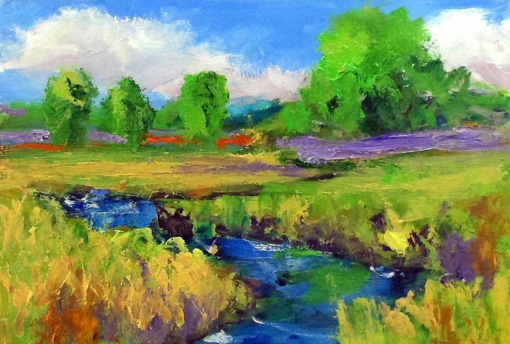 original oil painting modern impressionist 5x7 landscape by Ken Burnside  #Impressionism