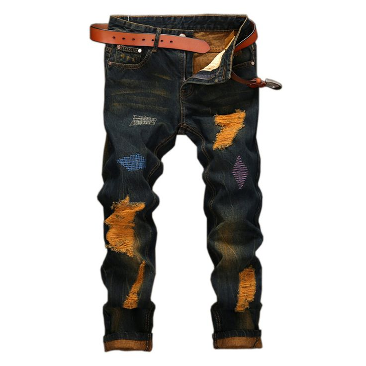Fashion Vintage Mens Ripped Jeans Pants Slim Fit Distressed Hip Hop Denim Joggers Male Novelty Streetwear Jean Trousers