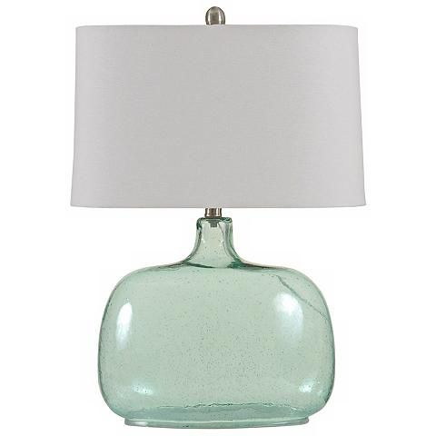 Brentford Seeded Teal Glass Table Lamp - #Y9103 | Lamps Plus
