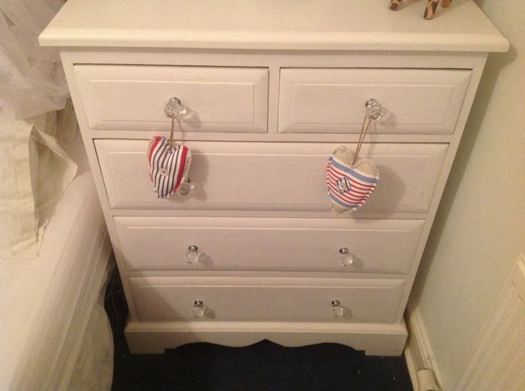 Old Pine Drawers New Crystal Knobs And A Lick Of White Eggshell Paint