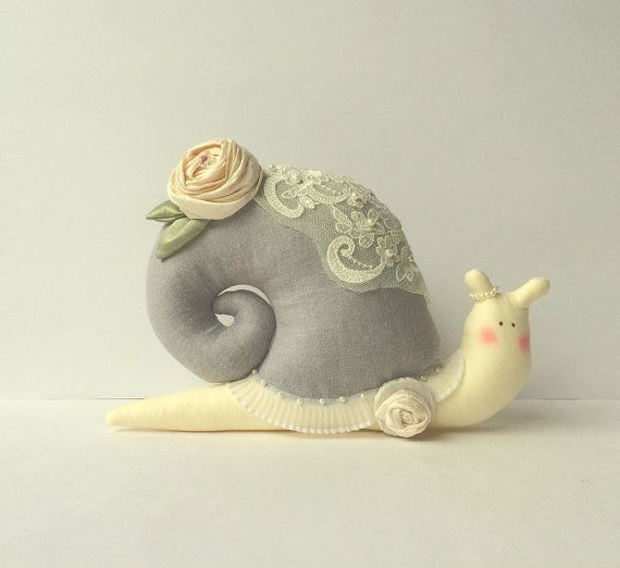 Shabby chic stuffed toy Snail plush Snail. by CherryGardenDolls