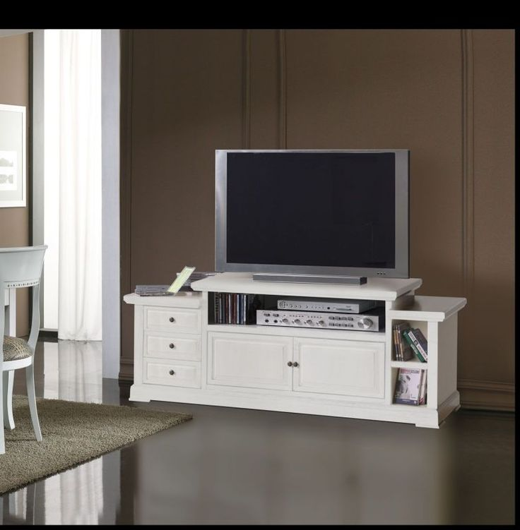 Mobile porta tv in legno shabby chic bianco art 678 f for Mobiletti tv ikea