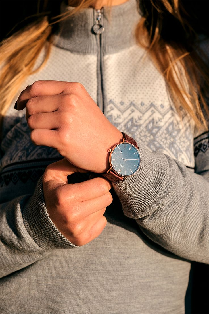 Fashion inspired by the north! Oxblood Red strap and Ulriken with blue dial. What a perfect combo! #womensfashion #styleoftheday #fashion #watches #bergwatches