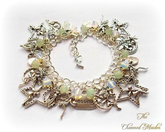 Fairy zegeningen bedelarmband Fairy armband, heidense bedelarmband, Wicca armband, Wicca, Aventurijn, Opalite, Magic, Fae, Elf, Sprite