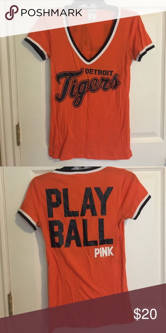 "VS MLB Detroit Tigers ""Play Ball"" V Neck 🐯 ⚾️ Great condition! Super cute and light v neck - perfect for all of the upcoming Detroit Tigers game! PINK Victoria's Secret Tops Tees - Short Sleeve"