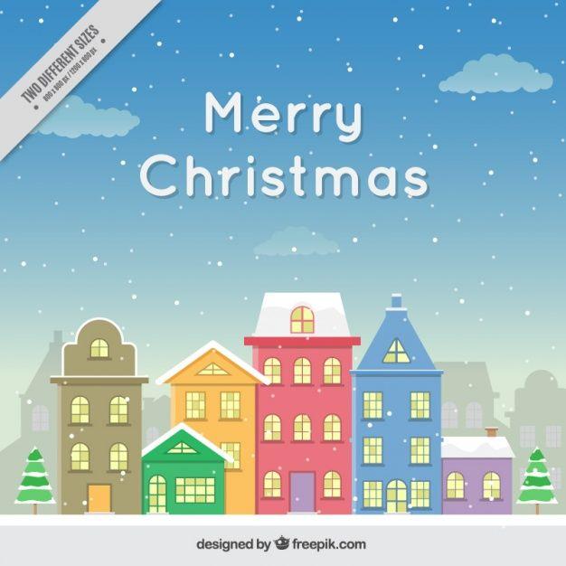 Tło piękne domy snowed fasady Wesołych Świąt Darmowych Wektorów