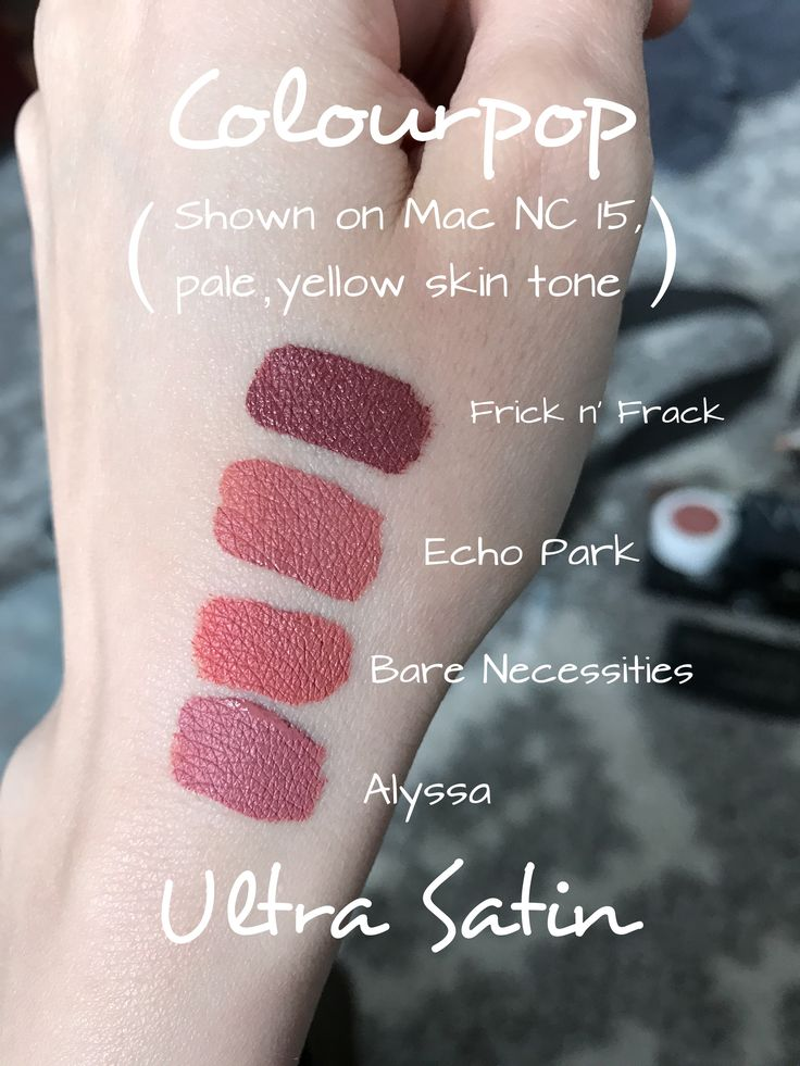 Colourpop Ultra Satin Lip Colors on a NC 15 skintone - Frick n' Frack, Echo Park, Bare Necessities, Alyssa (taken in natural sunlight on a cloudy day, no filters)