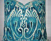 22X22 Ikat Decorative Designer Pillow .Linen--.Indigo , Peacock Blue, Aqua ,Turquoise  Ikat Throw Pillow. $49.95, via Etsy.