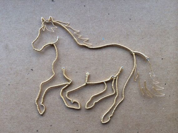 Wire Horse Ornament Silver and Gold Alsvid by WyreWithATwist