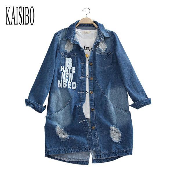 Plus Size 6XL 2016 Ladies Denim Jackets Spring Turn Down Collar Hole Long Sleeve Casual Denim Jacket Women Jeans Coat Outerwear