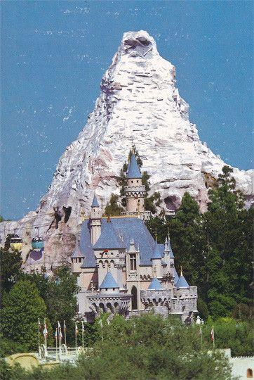 Vintage Walt Disney Disneyland Castle and Materhorn Postcard