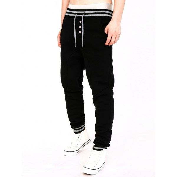 14.84$  Watch now - http://dib2z.justgood.pw/go.php?t=198621701 - Single-Breasted Stripe Splicing Jogger Pants