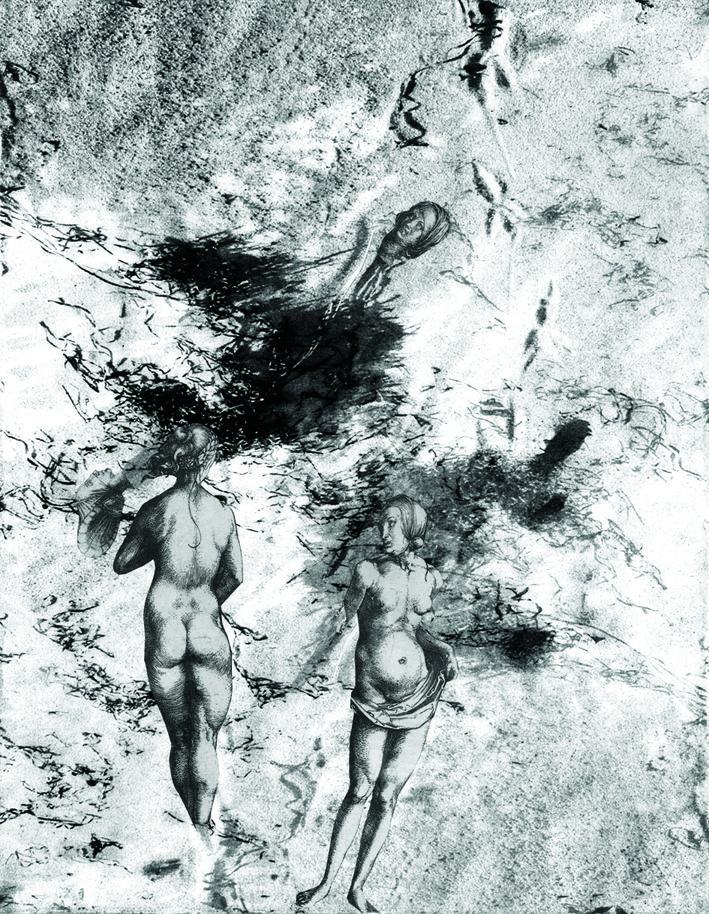 Jurgita Gerlikaite. Witch Apparitions. 2005. Photopolymer gravure, collage.  After Albrecht Dürer.