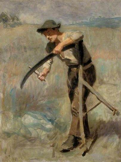 Sharpening the Scythe, 1897 by Ralph Hedley (British 1848-1913)