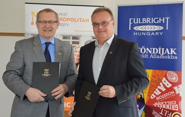 Budapest Metropolitan University, formerly known as Budapest College of Communications, and Fulbright Hungary signed a cooperation agreement on May 17, 2016. The agreement signed by Rector László Vass and Fulbright Executive Director Károly Jókay, supports the placement of US students with English Teaching Assistant (ETA) awards from Fulbright at Budapest Met.