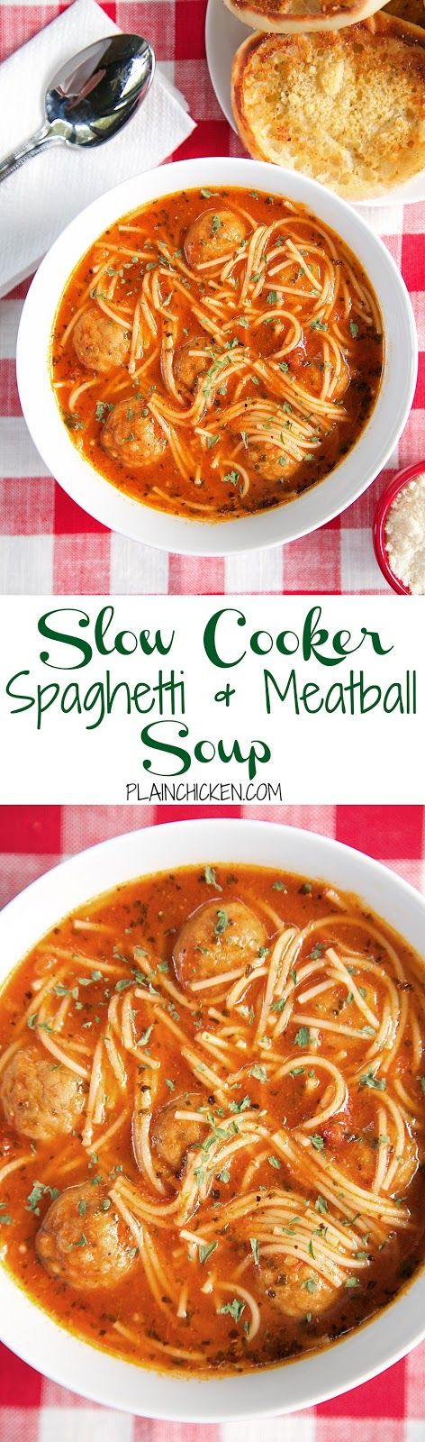 {Slow Cooker} Spaghetti and Meatball Soup | Plain Chicken®