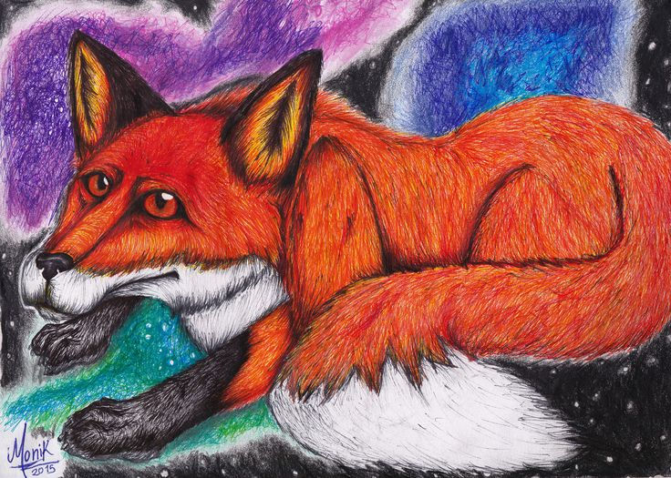 Fox in Galaxy  Handmade ilustration made with fineliner and colored pencils. #illustration