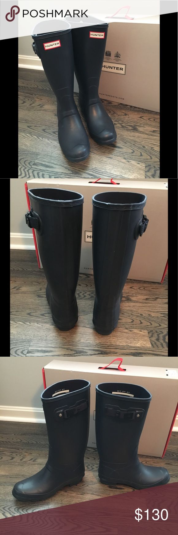 New In Box Hunter Original Huntress Boots New in Box Hunter Boots. Original Huntress boots. Navy size 8.                                                       BUNDLE DISCOUNT DOES NOT APPLY TO THIS ITEM! Hunter Shoes Winter & Rain Boots