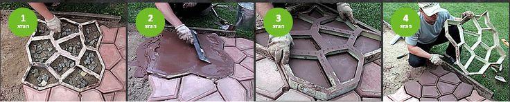 1  Выровнять площадку для бетонирования,  пролить ее водой, положить пластиковую форму. 2  Перед первым использованием  желательно смазать форму  отработанным маслом с внутренней  стороны. 3  Приготовить бетонный  раствор и уложить  в пластиковую форму. 4  Излишки бетона аккуратно  убрать шпателем, либо  другим подходящим  инструментом. 5  Формы, заполненные бетоном,  выдержать один час  и аккуратно снять.