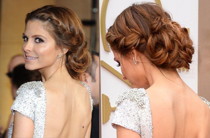 OSCARS 2014. La actriz María Menoumos optó por un recogido bajo con dos trenzas laterales en tonos caoba y cobrizo. Un peinado muy favorecedor.