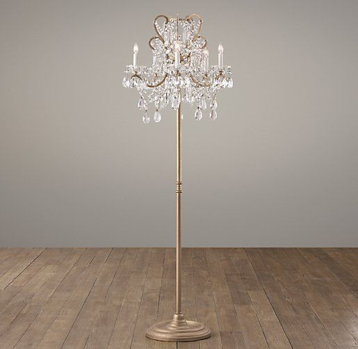 Love this! Two chandeliers too much?  Manor Court Crystal 5-Arm Floor Lamp