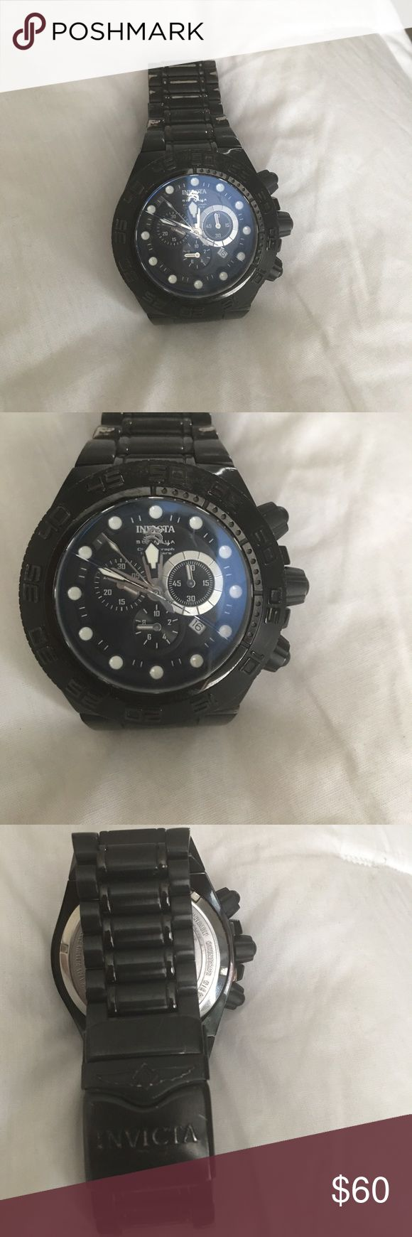 Invicta watch Nice and beautiful men's watch. The band is a little tarnished but not that visible. Also small crack on face Accessories Watches