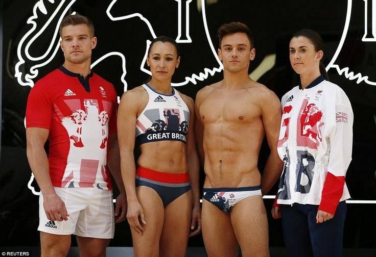(From left) rugby sevens player Tom Mitchell, Ennis-Hill, Daley, and Welsh Paralympic sprinter Olivia Breeze model the new attire