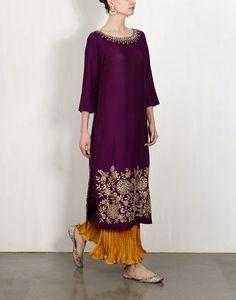 purple tusar silk kurta w gota work and mustard crushed sharara pants by LAJJOO C