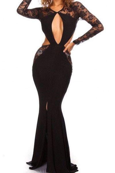 10036 Long Sleeve Lace Cut-out Floor Length Maxi Dress