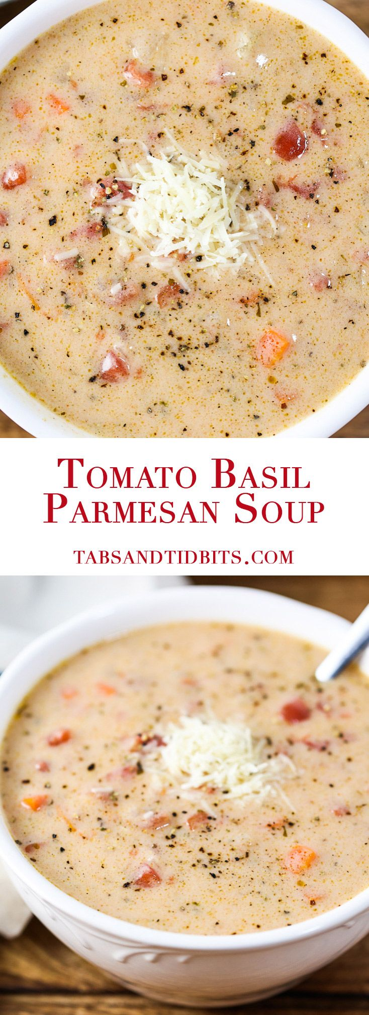 This Tomato Basil Parmesan Soup is comfort food in a bowl!