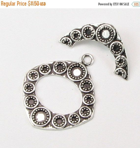 SALE 40% OFF Fancy Large Diamond Bali Sterling Silver Toggle Clasp by BeadingHeartCo