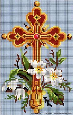 Cruce si flori albe schita de cusut etamina