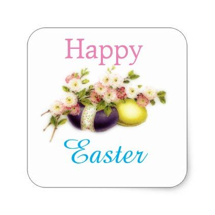 #vintage - #Vintage Easter Eggs with cherry blooms Square Sticker