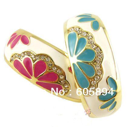 Широкий китайский перегородчатая браслеты модный эмаль женские аксессуары стразы ювелирных изделий