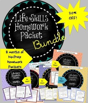This download includes all 8 months of the Life Skills Homework packets in one place for a discount. Let your students practice real life tasks at home each week. Skills include: -Counting money -Filling out a calendar -Packing their own lunch -Helping make the shopping list -Locating items in a grocery store -Cleaning various rooms of the house -Reflecting on feelings -Practicing conversation skills -Learning to pack an overnight bag -Researching local destinations: zoo, movie theater