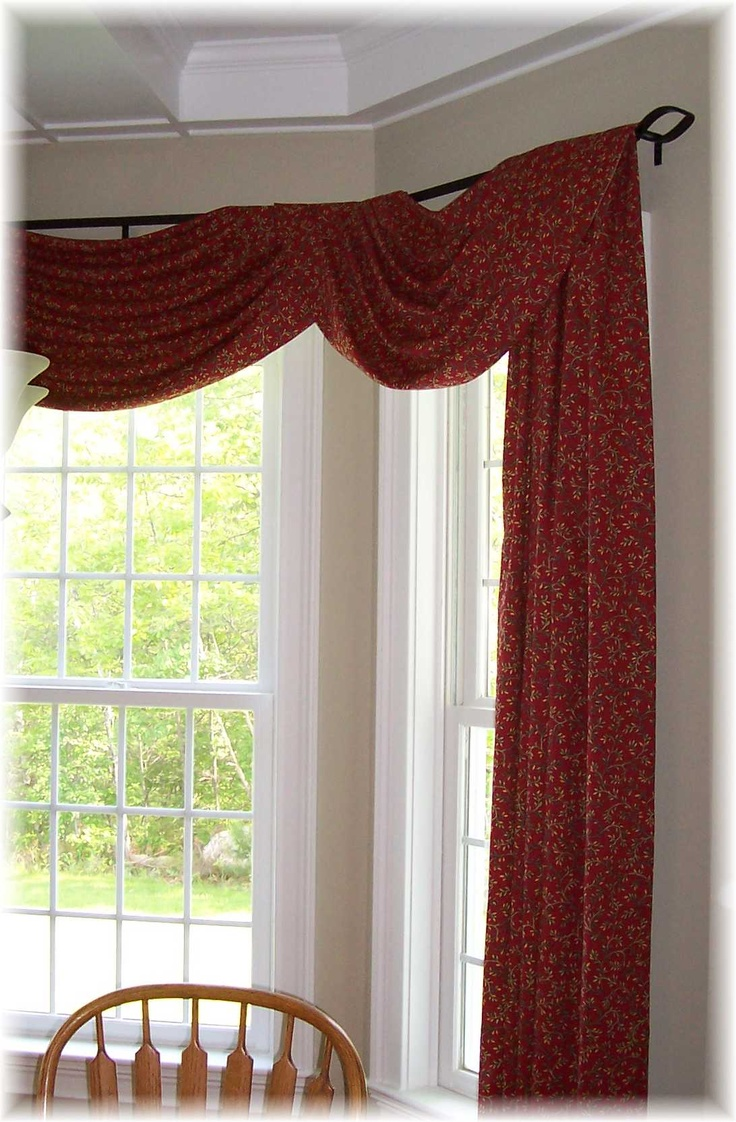 Uncategorized/birch tree fabric window panels/all products home decor window treatments curtains - Swag And Panels Hanging On A Rod Iron Rod Custom Made For Bay Window In A
