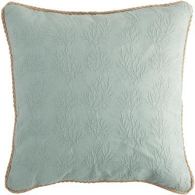 Coral Woven Jute Trim Blue Pillow