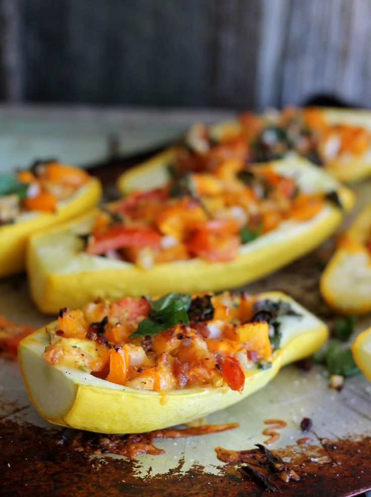 Garden Stuffed Summer Squash use up your extra summer vegetables, taste awesome and go perfectly with your summer meals. #squash #recipe #vegetables
