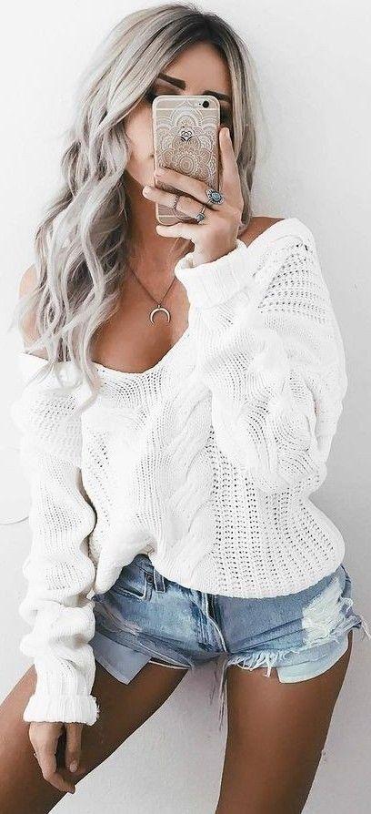 Deep v-neck sweater denim shorts, loving the off the shoulder sweater !