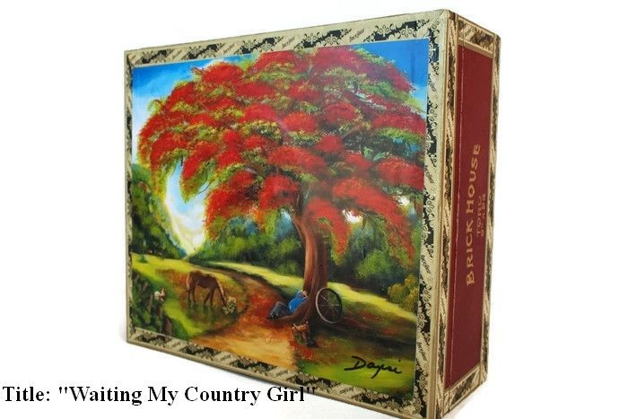"""Price Down! Cigar Box with artwork"""" Waiting My Country Girl"""". Cuban Collection.   