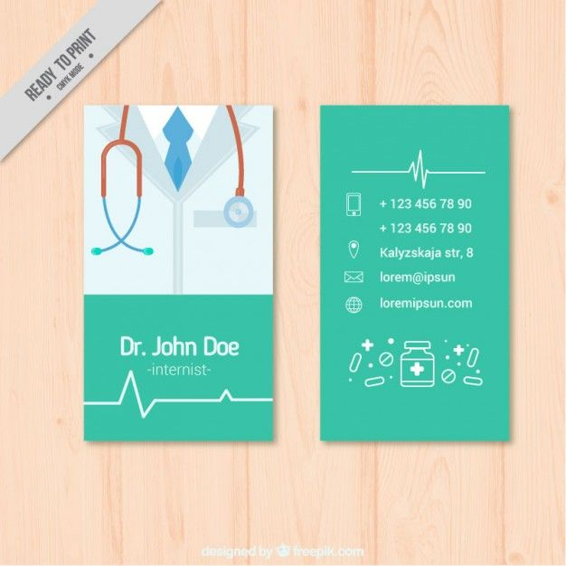 Medical card with phonendoscope Premium Vector