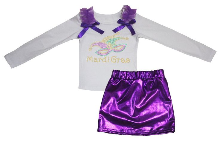 Petitebella Mardi Gras Mask White L/s Shirt Purple Bling Skirt Set 1-8y (1-2 Years). product includes: a shirt, a skirt. cotton shirt. lightweight skirt. adjustable waistband. outfit in mardi gras mask design.