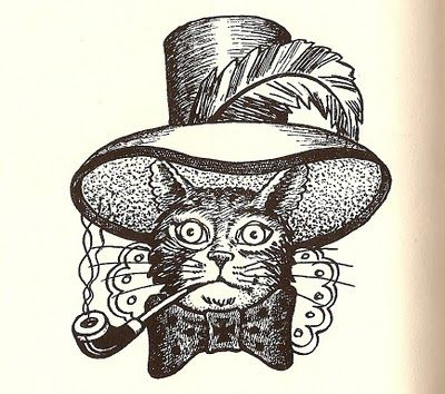 My favorite Russian prison tattoo. The cat smoking a pipe mean the person is a skilled thief. Not sure about the hat.