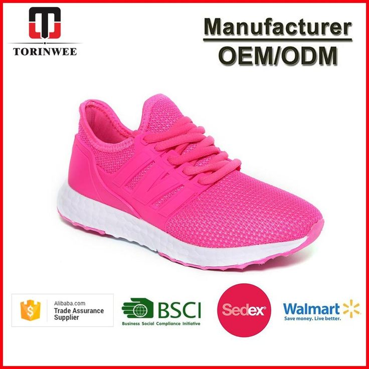 Mesh PVC Pink Lace Up Ladies Sport Shoes
