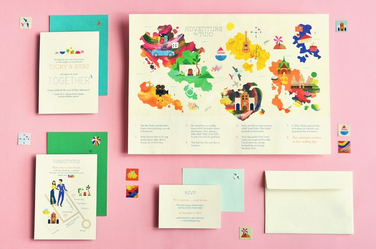 Liked the colors and design of this invitation set. I like the travel/adventure theme to it but also the bright water colors with the icons. - Katie