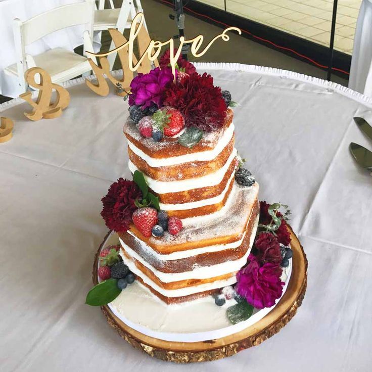 Hexagon Naked Cake with Fruits and Flowers