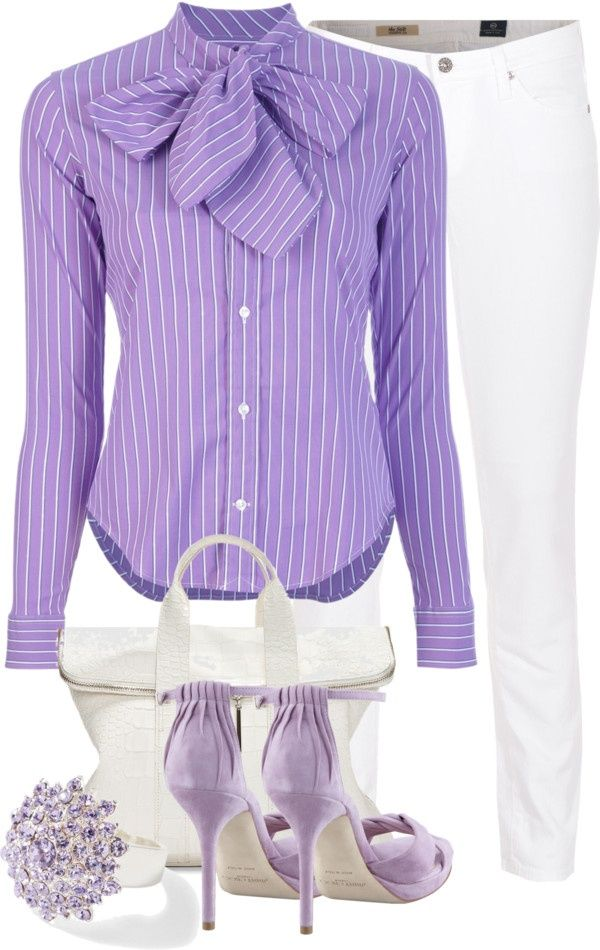 18CO, lavender pin striped shirt with tie, white jeans and accessories