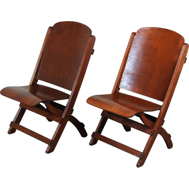 Interesting Pair Of Vintage Wooden Folding Chairs Very Similar To Theater Seats Cool Design